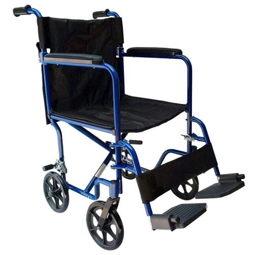Medical store silla de ruedas de traslado de aluminio con asiento de 18 color azul - Sillas de ruedas de traslado ...