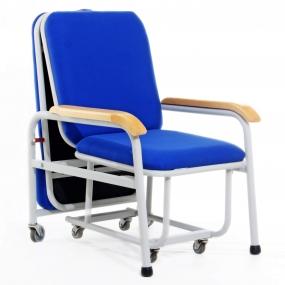 Ciiasa - Silla cama esmaltada en color gris y colchón azul
